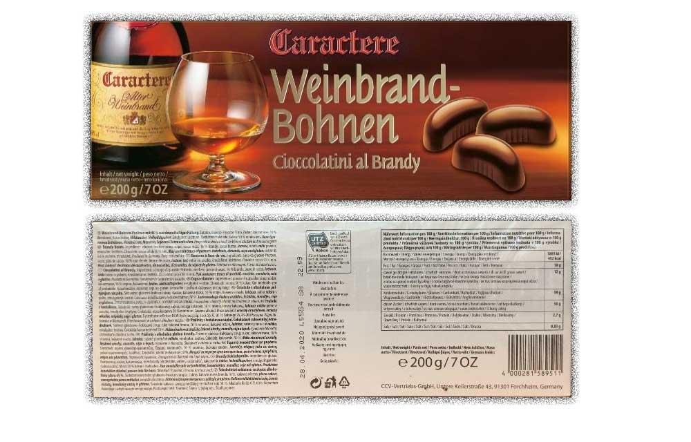 Warenrückruf von Caractere Weinbrandbohnen 200g – Salmonellen Verdacht